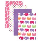 Luvable Friends 4pk Flannel Receiving Blankets with Gift Ribbon - Pink Elephant
