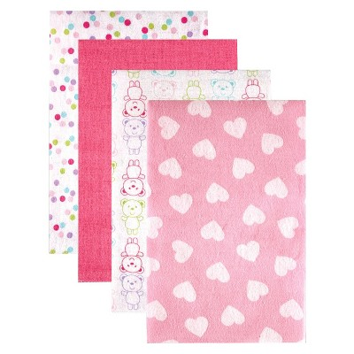 Luvable Friends 4pk Flannel Receiving Blankets with Gift Ribbon - Pink Patterns