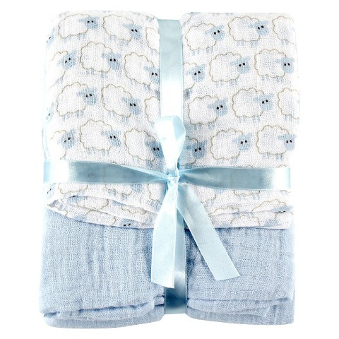 Hudson Baby Muslin 2pk Baby Swaddle Blanket with Gift Ribbon - Blue Sheep