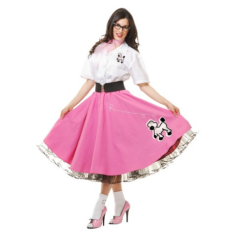 Women's 50's Pink Poodle Skirt Costume