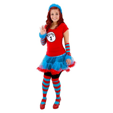 Women's Cat In The Hat Thing 1 And Thing 2 Tutu  Costume