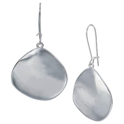 Organic Disc Drop Earrings - Silver