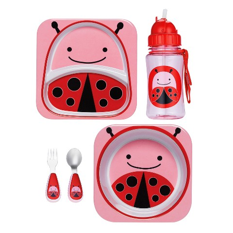 Skip Hop Zoo Toddler Plate, Bowl, Straw Bottle and Utensil Set Value Bundle - Ladybug