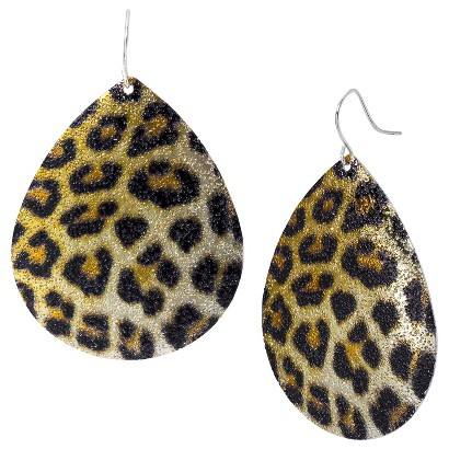 Leopard Print Teardrop Shaped Earring - Gold