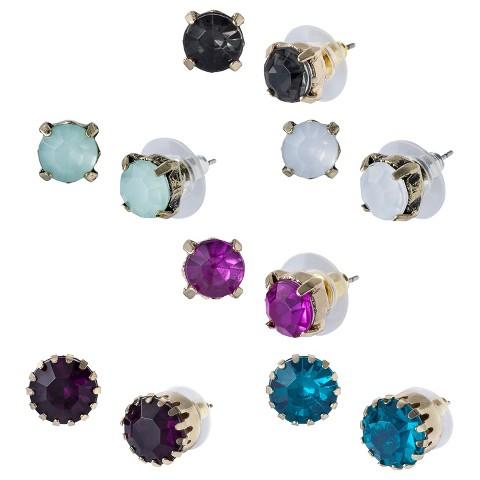 6 Piece Assorted Stud Earrings Set - Multi Color