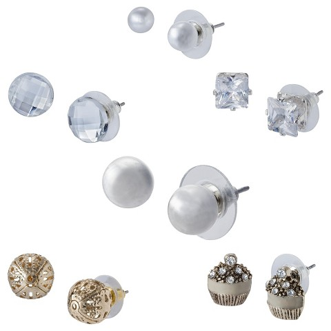 6 Piece Assorted Designs Stud Earrings Set - Clear/Silver/Gold