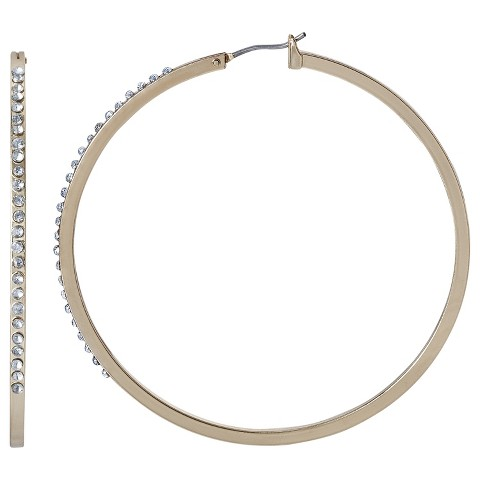 Medium Hoop with Front-Facing Clear Stones - Gold