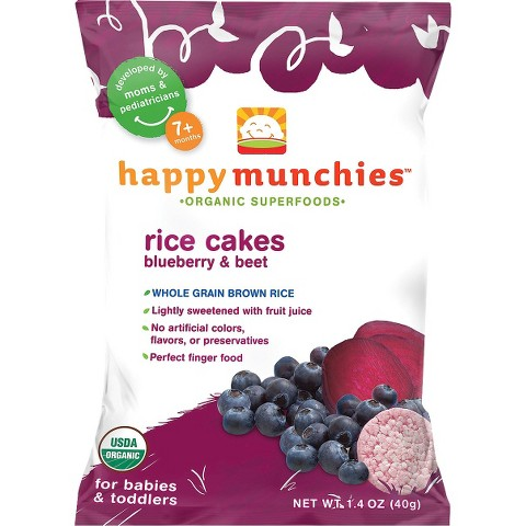 Happy Munchies Baby Snacks - Blueberry & Beet Rice Cakes 1.4oz (10 Pack)