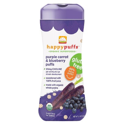 Happy Puffs Baby Food Snack - Purple Carrot and Blueberry 2.1oz (6 Pack)