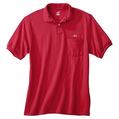 Men's Hanes Jersey Knit Sport Red Polo with Pocket