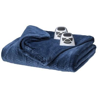 Biddeford Heated Chevron Velour Electric Blanket - Denim (Full)
