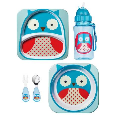 Skip Hop Zoo Toddler Plate, Bowl, Straw Bottle and Utensil Set Value Bundle - Owl