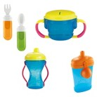Fisher-Price Tote-Along Travel Feeding Set with Sippy Cup, Snacker and Travel Utensil Set