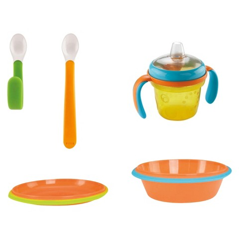 Fisher-Price 4mo+ Feeding Set with Sippy Cup, Heat Sensitive Bowl and Plate and Learn to Hold Spoon