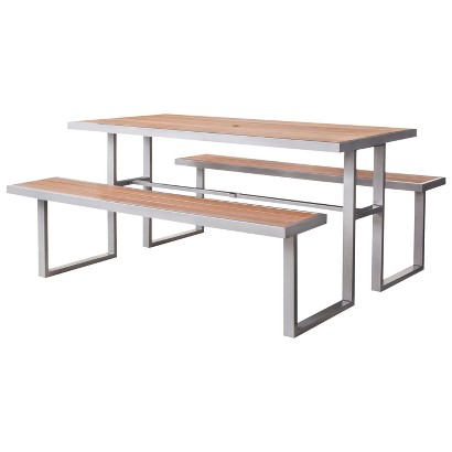 Outdoor Picnic Table : Threshold™ Bryant Faux Wood Patio Picnic Table product details page