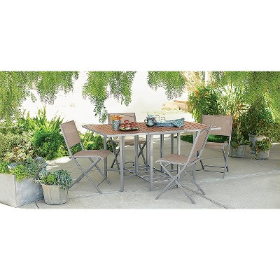 Bryant 5-Piece Sling Stowable Folding Patio Dining Furniture Set - Threshold™