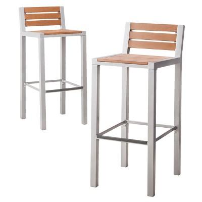 Bryant 2-Piece Faux Wood Patio Bar Stool Furniture Set - Threshold™