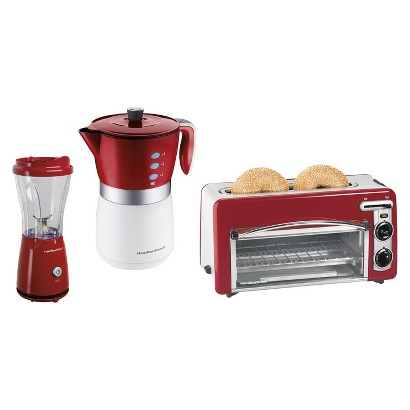 Hamilton Beach Coffee Maker, Toaster & Blender Bundle - Red