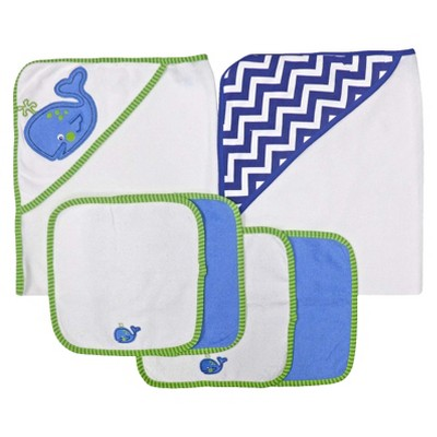 Neat Solutions® 2 Hooded Baby Towels and 4 Washcloths Set - Whale