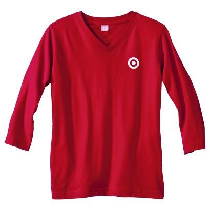Women's Jersey 3/4 Sleeve Red V-Neck T-Shirt