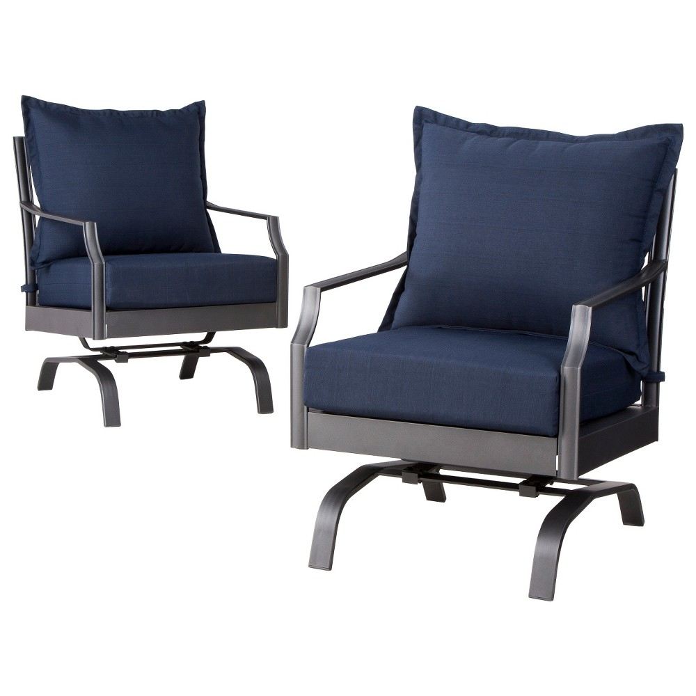 Threshold 2 piece navy blue metal swivel club chair patio for Metal patio chairs