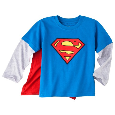 Superman Infant Toddler Boys' Long-Sleeve Cape T-Shirt