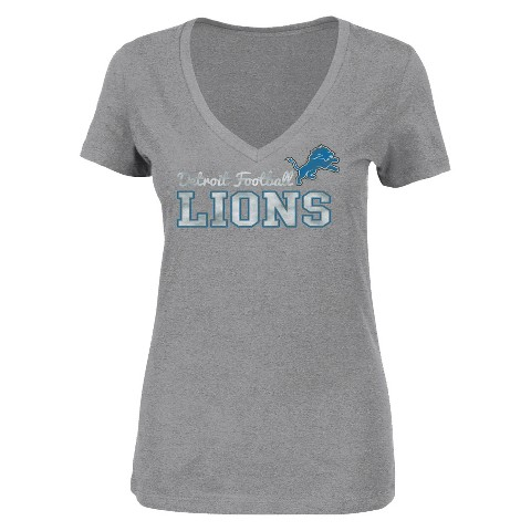 Detroit Lions Rough Patch V-Neck Tee - Heather Grey