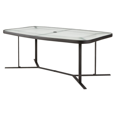 threshold linden metal rectangular patio dining table product