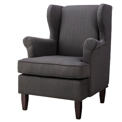 Edbury Upholstered Wingback Chair - Charcoal