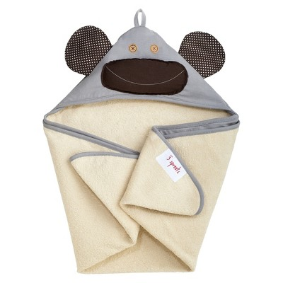 3 Sprouts Newborn/Infant Hooded Towel - Grey Monkey
