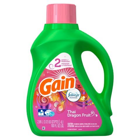 Gain Febreze Thai Dragon Fruit Scent Liquid Laundry Detergent 100 oz