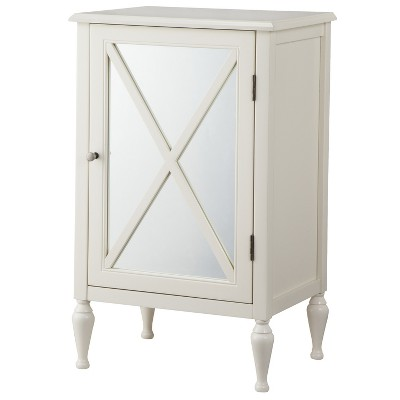 Hollywood Mirrored One Door Storage Cabinet - White