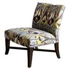 Owen X-Base Upholstered Armless Chair - Grey Ikat