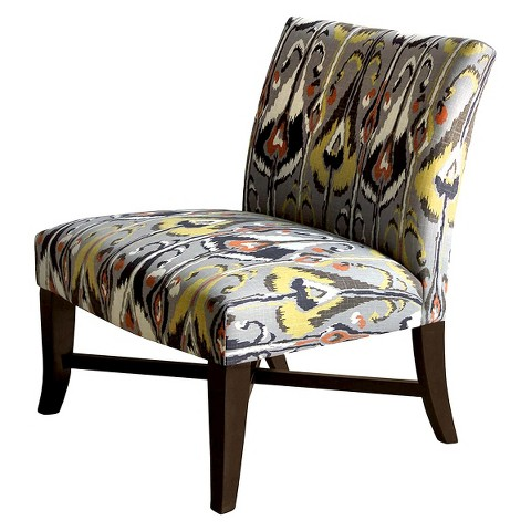 Owen X-Base Upholstered Armless Chair - Grey Ikat