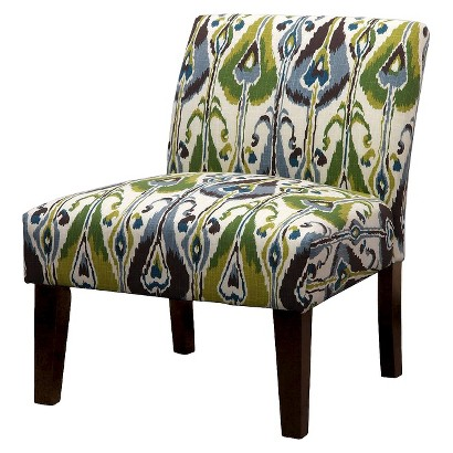 Avington Upholstered Slipper Chair - Green/Blue/Brown Ikat