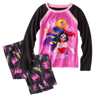 Justice League Girls' 2-Piece Long-Sleeve Sleepwear Set