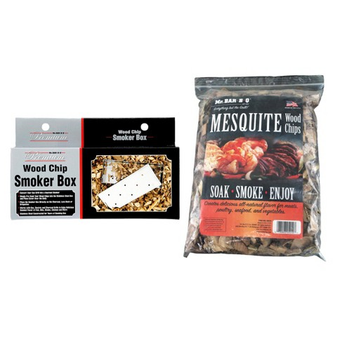 Mr. Bar-B-Q - Mesquite Wood Chips with Stainless Steel Smoker Box