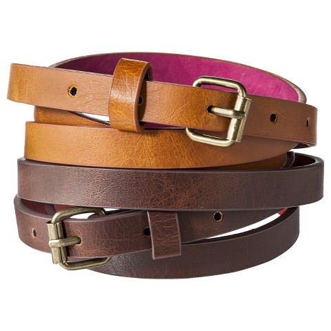 Mossimo Supply Co. Two Pack Skinny Belt - Brown