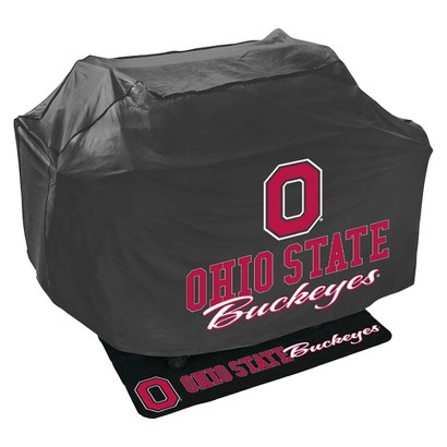 Mr. Bar B-Q - NCAA - Grill Cover and Grill Mat Set, Ohio State University Buckeyes