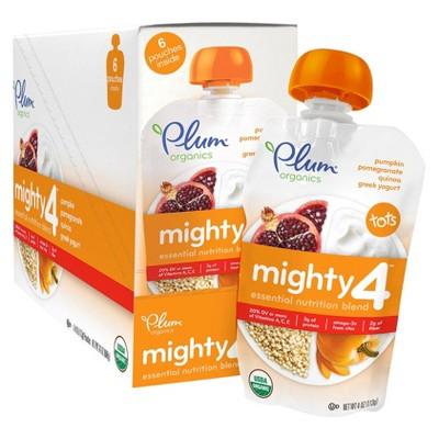 Plum Organics Mighty 4 Tots Snack Pouch - Pumpkin, Pomegranate, Quinoa, and Greek Yogurt (6 Pack) 4oz