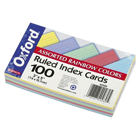 "Oxford 100-Count Ruled Index Cards 4-Pack  - Multicolor (3""X5"")"