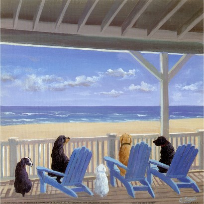 Art.com - Dogs On Deck Chairs