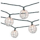 Threshold UL 10ct Indoor/Outdoor String Light, Metal Wire Round Cover With Plastic Beads