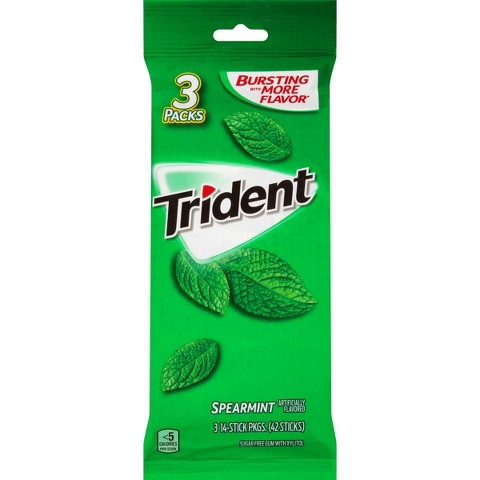 Trident Sugar Free Gum with Xylitol Spearmint 54 ct