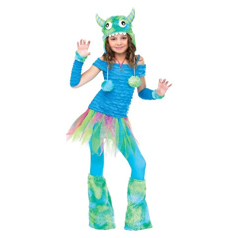 Girls' Blue Beasty Costume