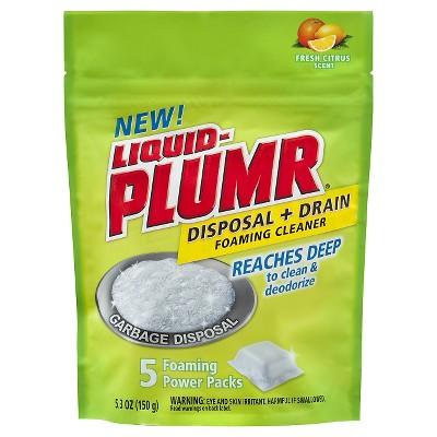 Liquid-Plumr Disposal Plus Drain Foaming Cleaner Fresh Citrus 5 Foaming Power Packs 5.3 oz