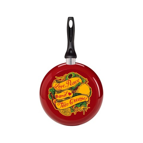 Guy Fieri Nonstick Aluminum Decorated 9.5 Inch Skillet Love, Peace Taco Grease