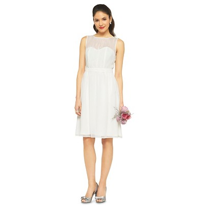 TEVOLIO™  Women's Chiffon Illusion Sleeveless Dress - Neutral Colors