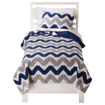 Circo® Chevron Quilt Set - Navy Blue/Gray