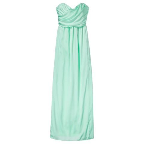 Women's Satin Strapless Maxi Bridesmaid Dress  Fashion Colors - TEVOLIO&#153